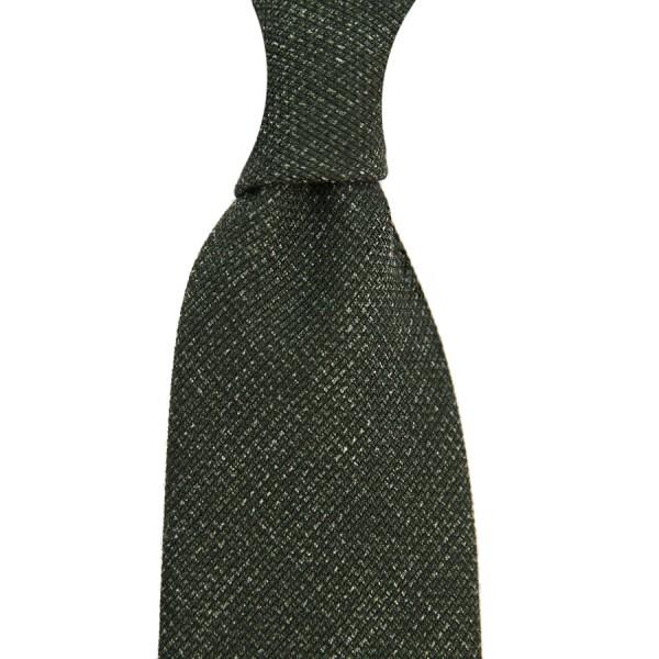 Plain Printed Grenadine Tie - Wool / Cashmere / Silk - Bottle Green