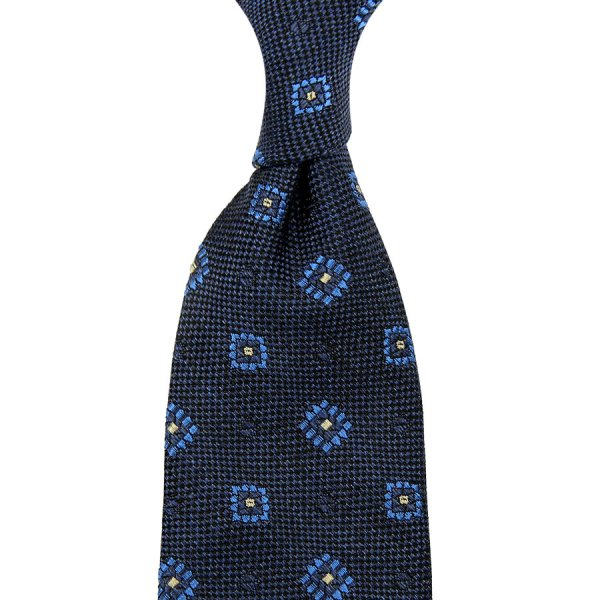 Geometrical Boucle Silk Tie - Navy - Hand-Rolled