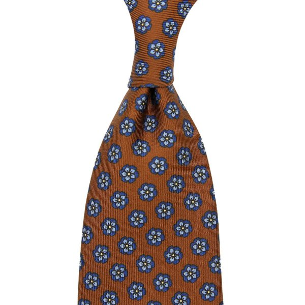 Floral Printed Silk Tie - Oatmeal - Hand-Rolled