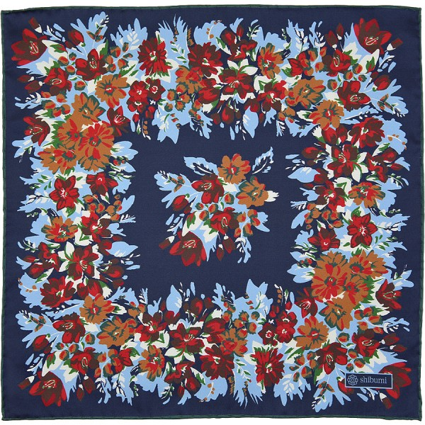 Floral Printed Silk Pocket Square - Navy - 40 x 40cm