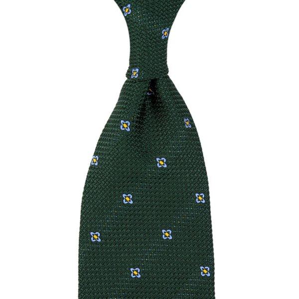 Floral Hopsack Silk Tie - Bottle - Hand-Rolled