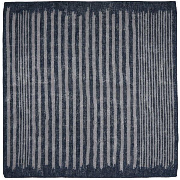 Geometrical Motif Cotton Handkerchief - Navy I