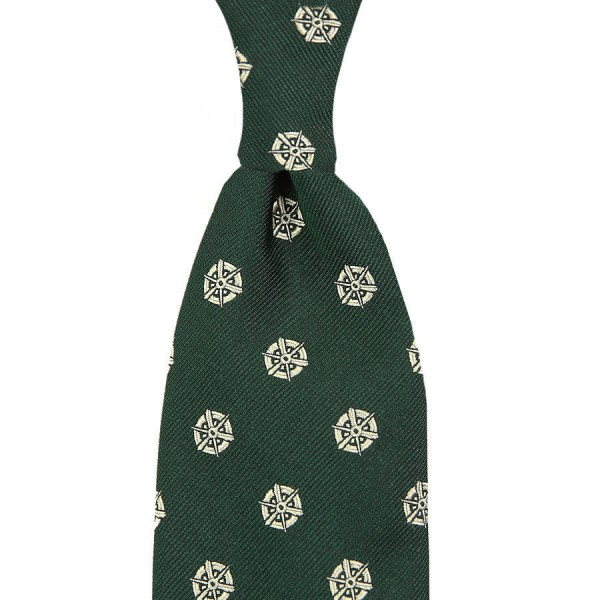 Kyoto Crest Silk Tie - Forest Green - Handrolled