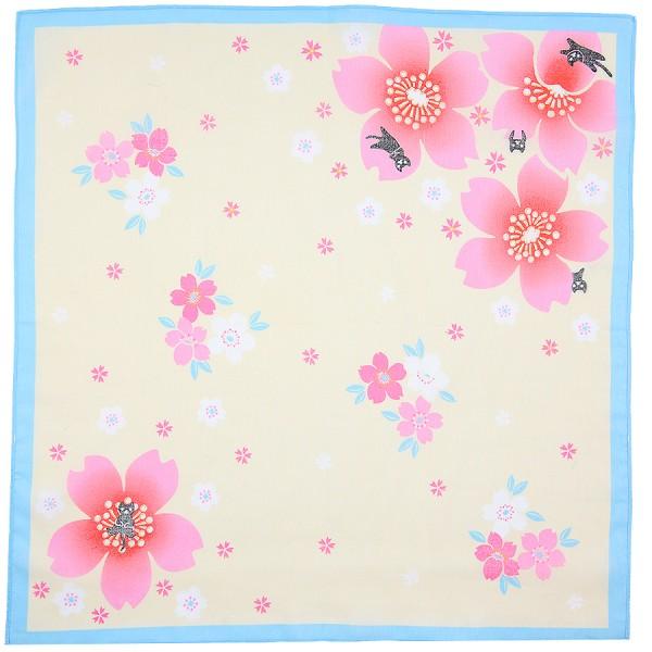 Floral Motif Cotton Handkerchief - Beige