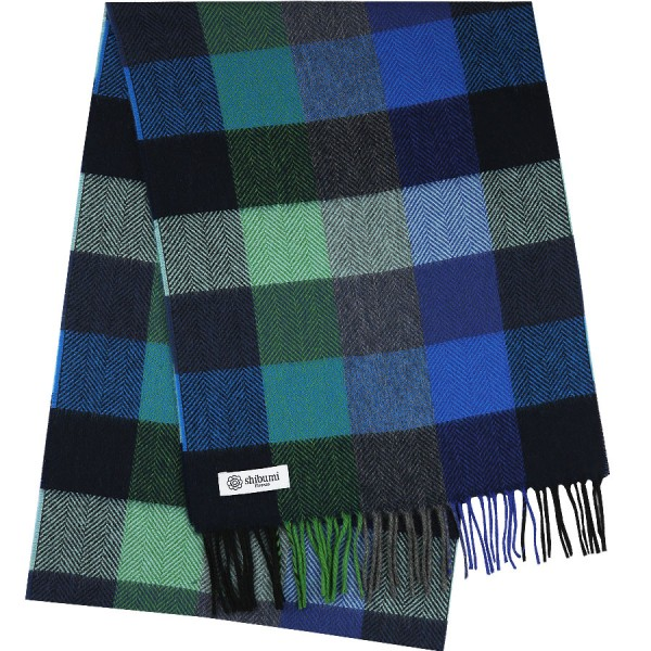 Plaid Cashmere Scarf - Navy / Blue / Green