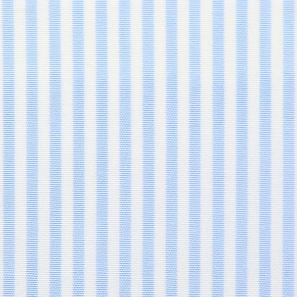 Poplin Made-To-Order Shirt - White / Sky Blue - Pencil Stripe