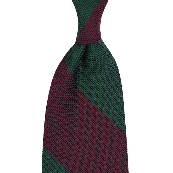 Block Stripe Grenadine / Garza Piccola Silk Tie - Burgundy / Forest Green - 160cm