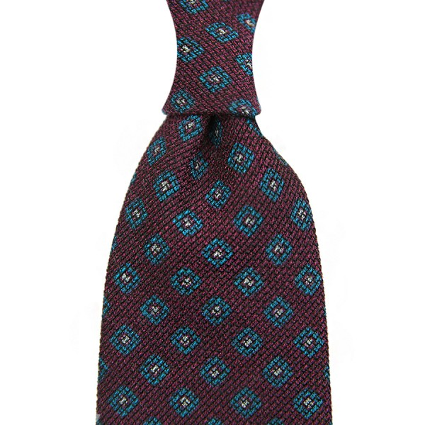 Floral Printed Grenadine Tie - Wool / Cashmere / Silk - Burgundy
