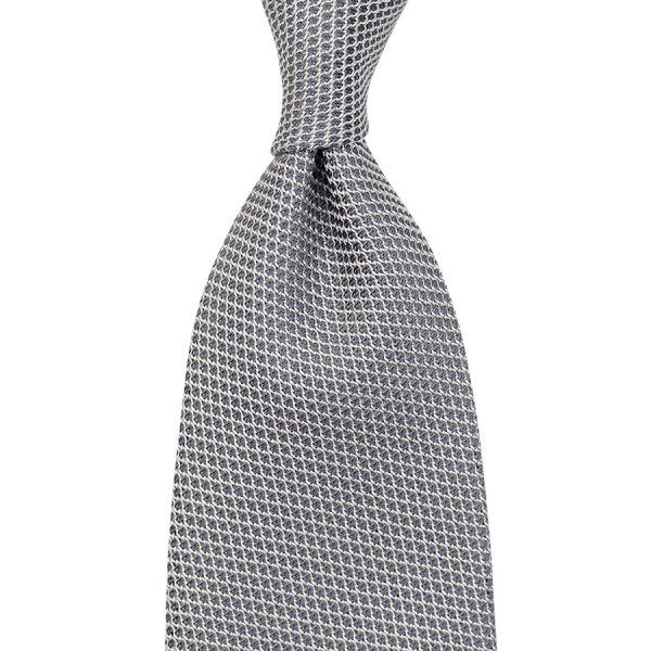 Grenadine / Garza Piccola Tie - Silver - Handrolled