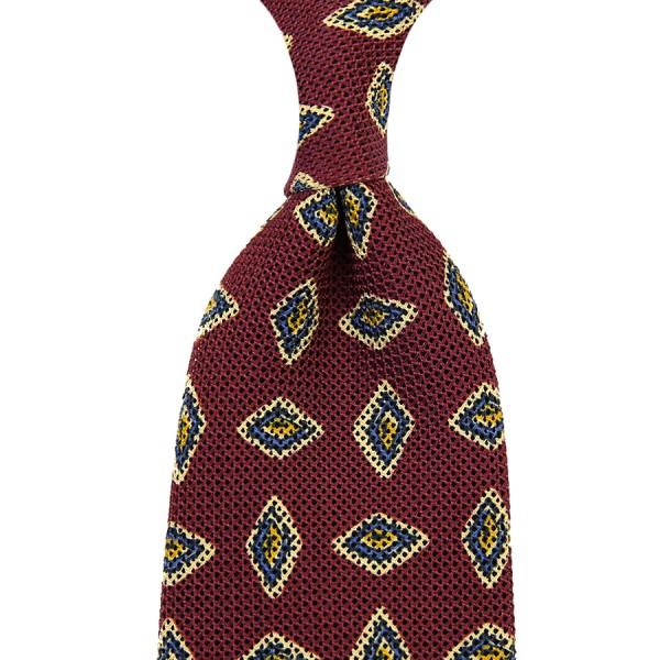 Medallion Printed Silk / Cotton Grenadine Tie - Burgundy