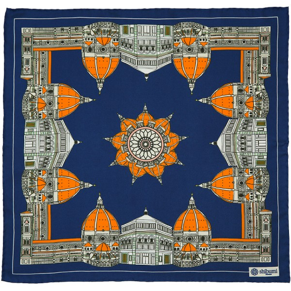 Duomo Silk Pocket Square - Navy - 40 x 40cm