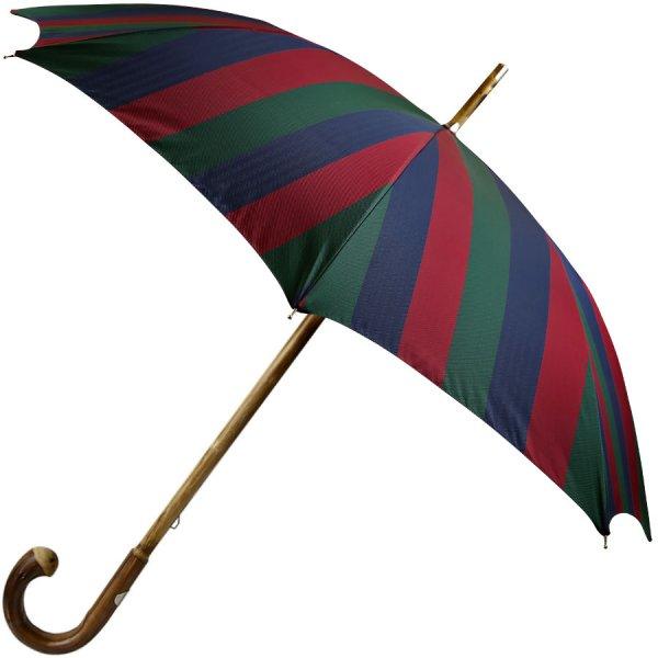 Navy / Burgundy / Forest Striped Umbrella - Chestnut