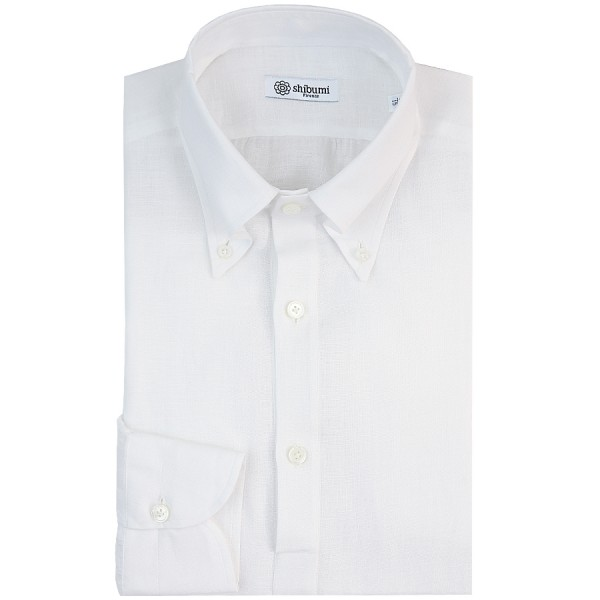Long Sleeved Polo Shirt - Button Down - White - Linen - Regular Fit