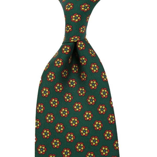 Floral Printed Silk Tie - Green - Hand-Rolled