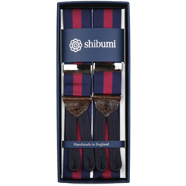 Barathea Braces - Navy / Cherry