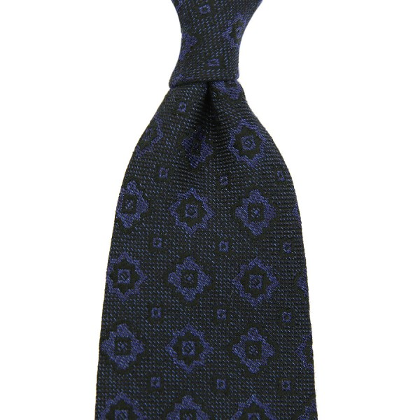 Floral Silk / Cotton Boucle Tie - Navy - Handrolled
