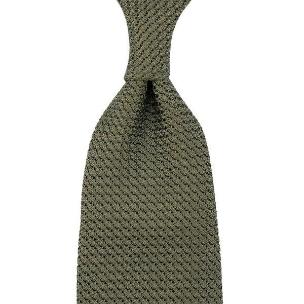 Grenadine / Garza Grossa Tie - Army - Hand-Rolled