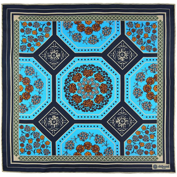 Floral Motif Silk Pocket Square - Blue - 40x40cm