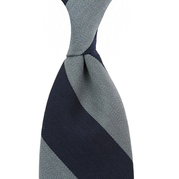 Block Stripe Wool Tie - Navy / Grey