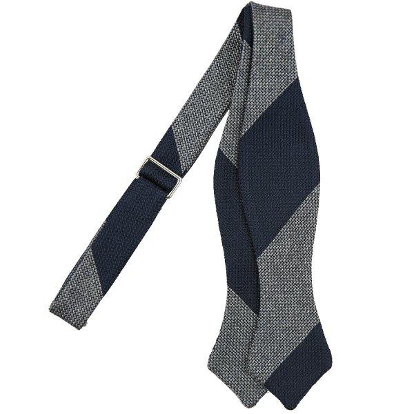 Block Stripe Grenadine Silk Bow Tie - Navy / Grey