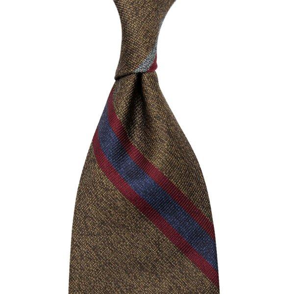 Mottled Repp Stripe Silk Tie - Brown - Hand-Rolled