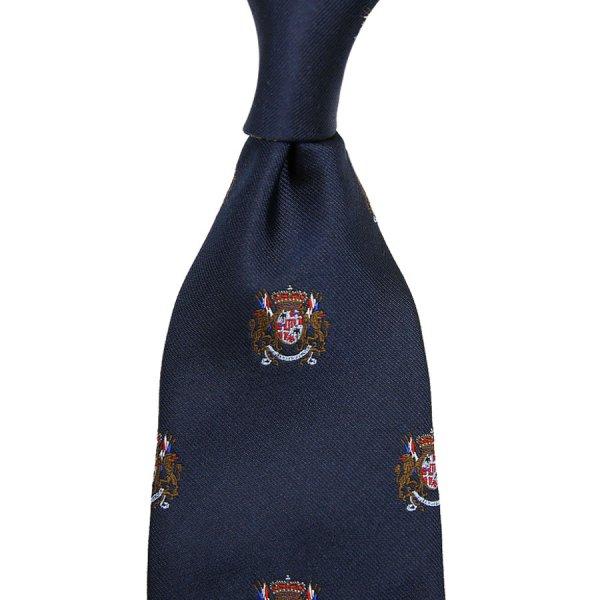 Crest Jacquard Silk Tie - Navy - Hand-Rolled