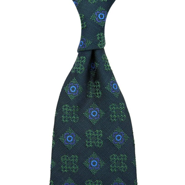 Floral Boucle Silk Tie - Madder Green - Hand-Rolled