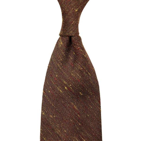 Plain Tussah Silk Tie - Rust - Hand-Rolled