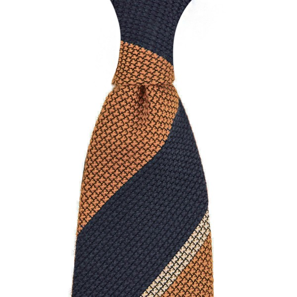 7-Fold Wool/Silke Striped Grenadine Tie - Navy / Coral - Handrolled