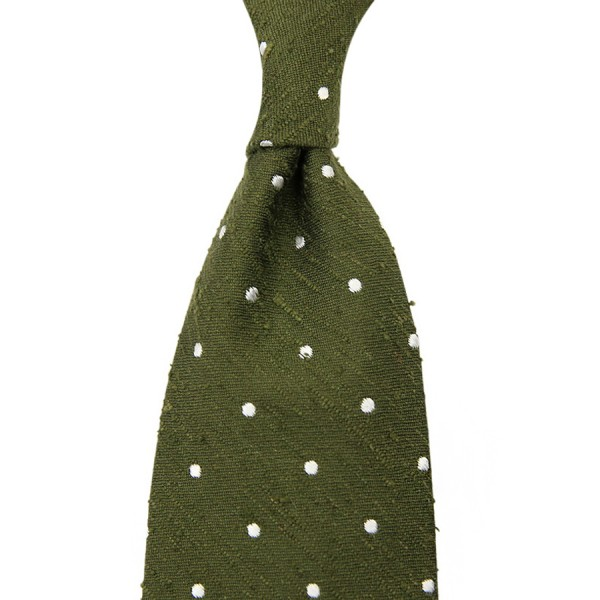 Dotted Shantung Silk Tie - Olive - Handrolled