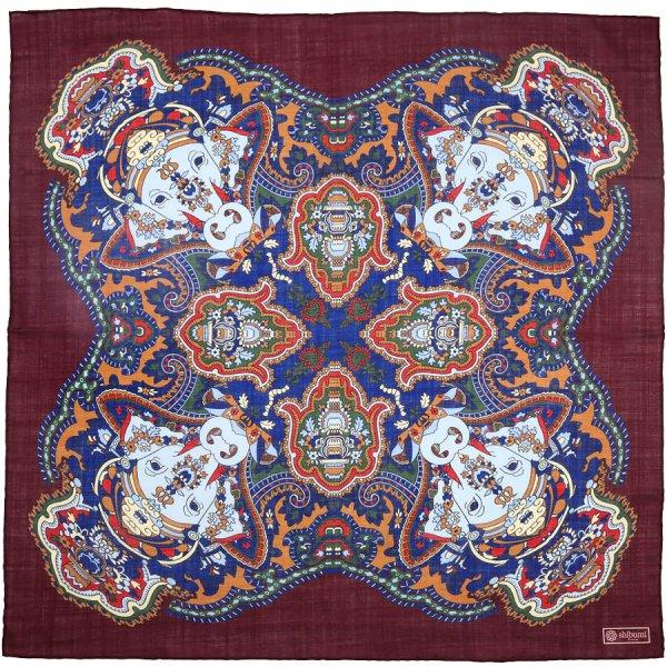 Printed Wool / Silk Neckerchief - Burgundy - 60x60cm