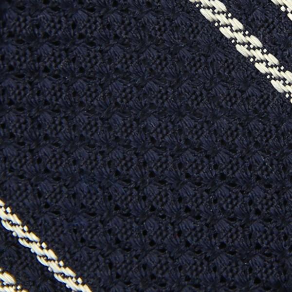 Striped Garza Grossa / Grenadine Bespoke Tie - Midnight / White