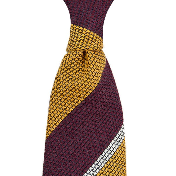 7-Fold Wool/Silk Striped Grenadine Tie - Burgundy / Gold - Handrolled
