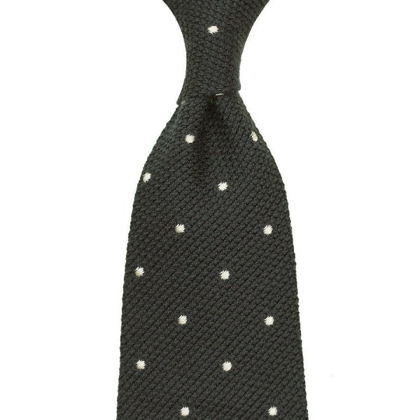 7-Fold Wool / Silk Grenadine Tie With Dots - Slate Green - Hand-Rolled