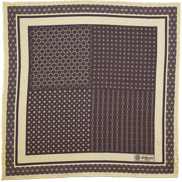Geometrical Wool / Silk Pocket Square - Brown