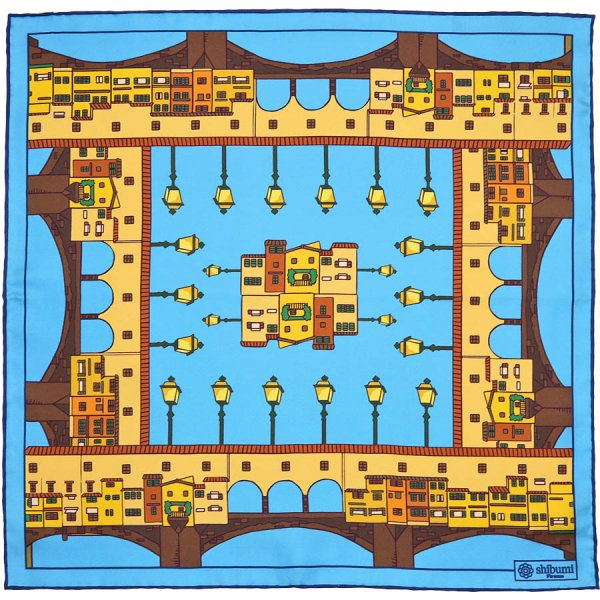 Ponte Vecchio Silk Pocket Square - Sky - 40x40cm