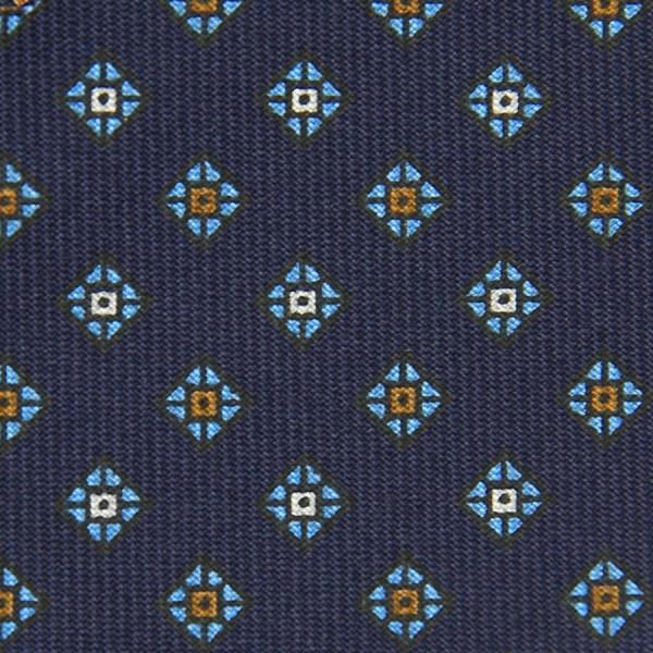 Floral Printed Bespoke Silk Tie - Navy VI