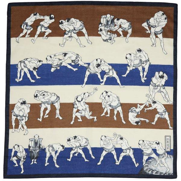 Ukiyo-e Motif Cotton Handkerchief - Navy / Brown