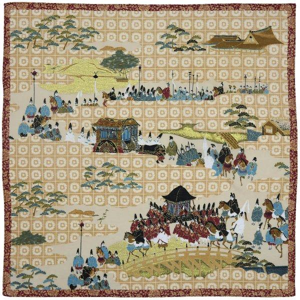 Kyoto Motif Cotton Handkerchief - Beige