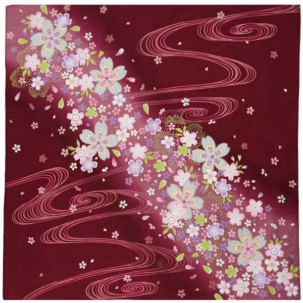 Floral Motif Cotton Handkerchief - Wine I