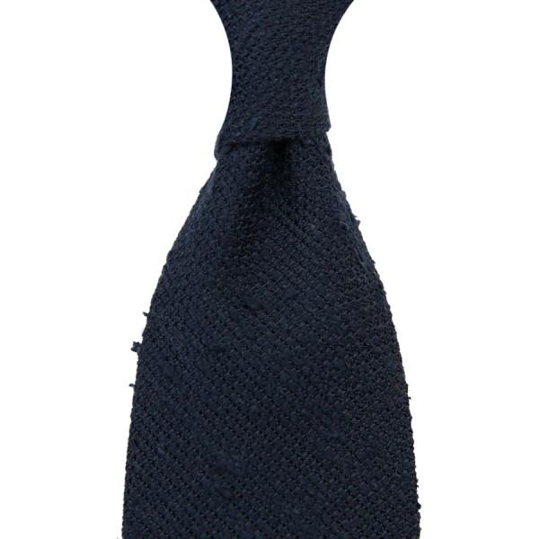 7-Fold Shantung Grenadine Tie - Navy - Hand-Rolled