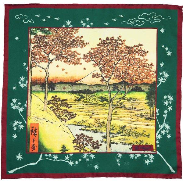 Ukiyo-e Silk Pocket Square - Kurenai - 40x40cm