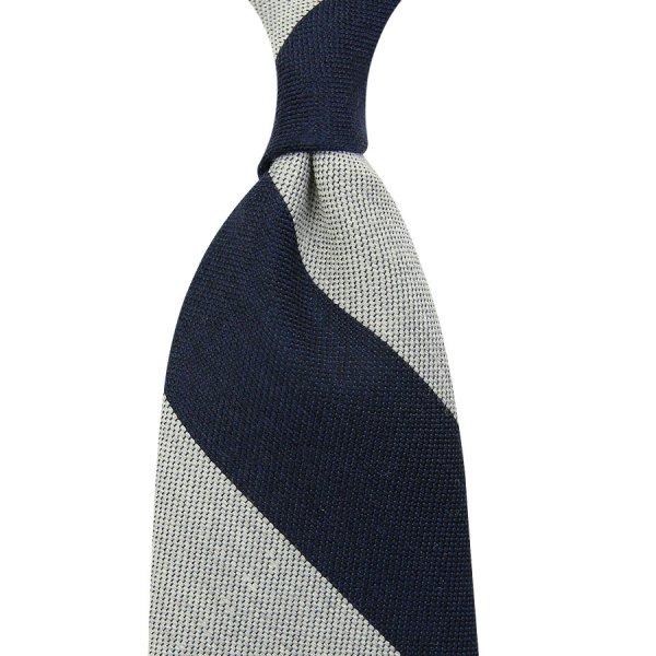 Block Stripe Wool / Silk Tie - Navy / White - Hand-Rolled