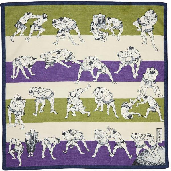 Ukiyo-e Motif Cotton Handkerchief - Green / Purple
