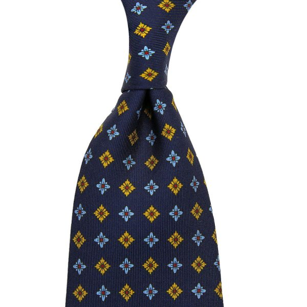 Floral Printed Silk Tie - Navy XIV - Hand-Rolled
