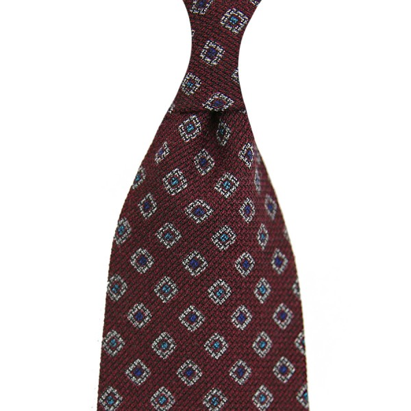 Geometrical Printed Grenadine Tie - Wool / Cashmere / Silk - Burgundy