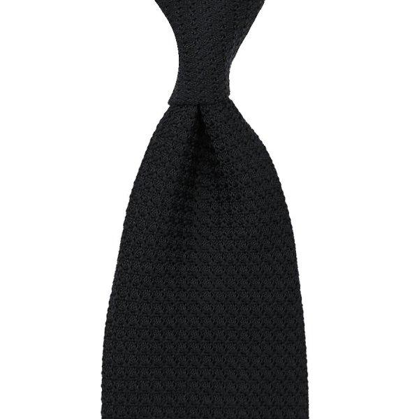 Grenadine / Garza Grossa Silk Tie - Black - Hand-Rolled