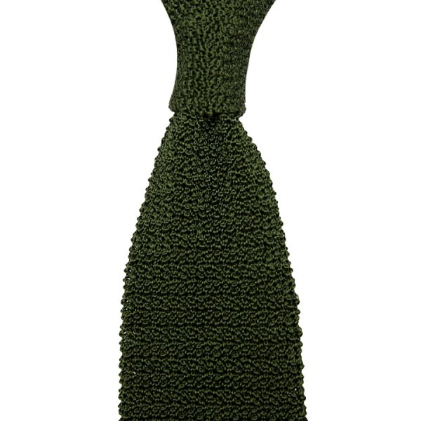 Crunchy Silk Knit Tie - Olive