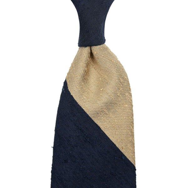Block Stripe Shantung Silk Tie - Navy / Cream - Hand-Rolled