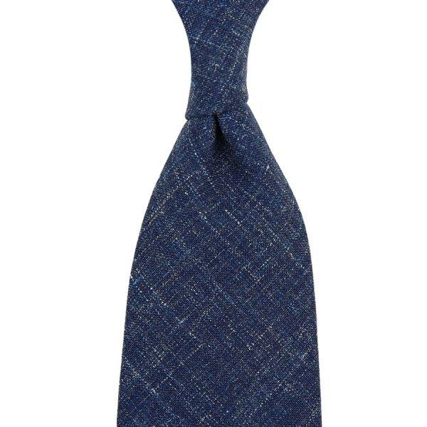 Mottled Plain Wool / Linen Tie - Light Navy - Hand-Rolled